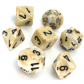 Ivory & Black Marble Polyhedral 7 Dice Set